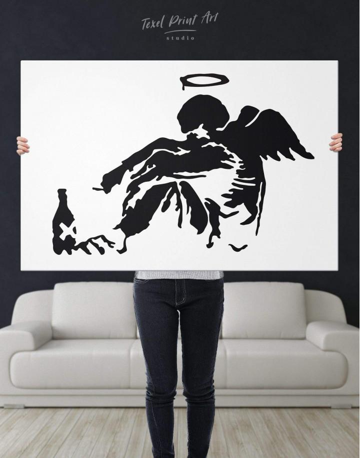 Banksy's Fallen Angel Canvas Wall Art - Image 4