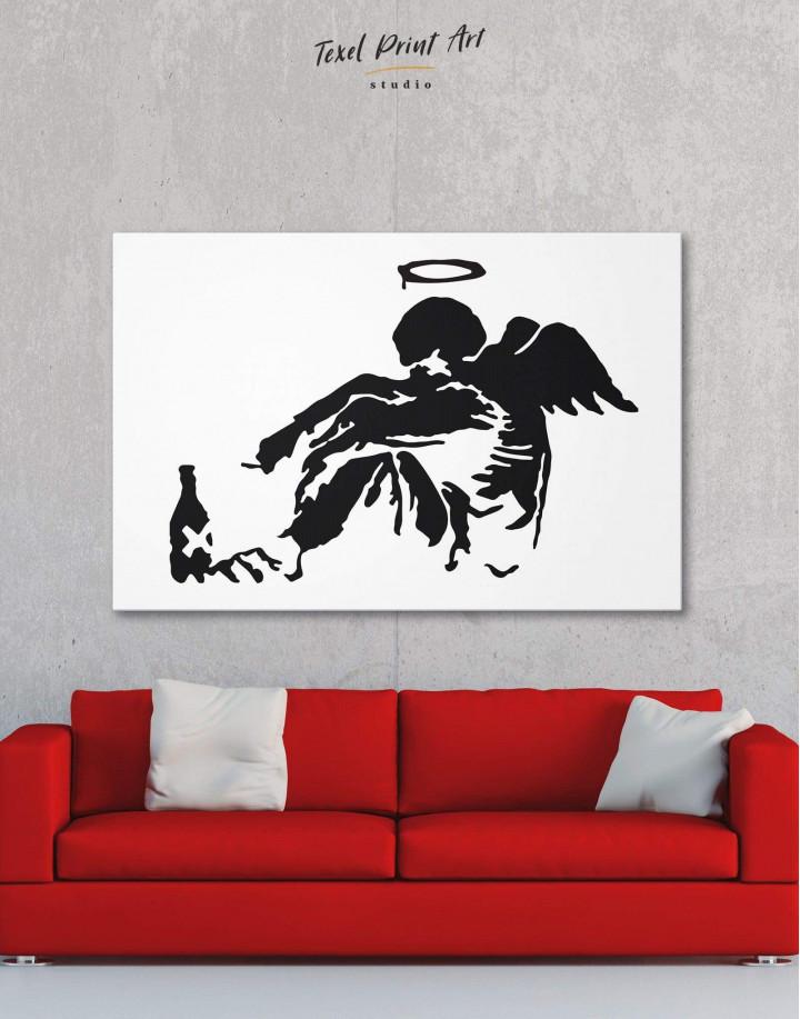 Banksy's Fallen Angel Canvas Wall Art - Image 0