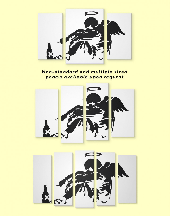 Banksy's Fallen Angel Canvas Wall Art - Image 2