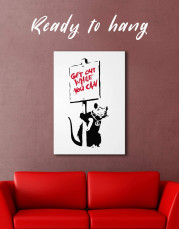 Get Out While You Can by Banksy Canvas Wall Art - Image 0