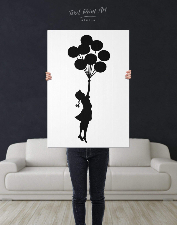 The Girl with the Balloons by Banksy Canvas Wall Art - Image 2