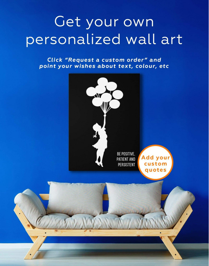 The Girl with the Balloons by Banksy Canvas Wall Art - Image 1