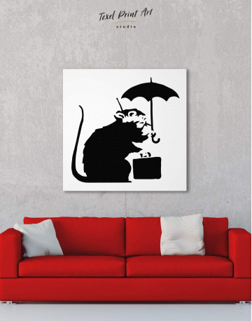 Umbrella Suitcase Rat Canvas Wall Art - image 3