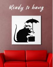 Umbrella Suitcase Rat by Banksy Canvas Wall Art - Image 0