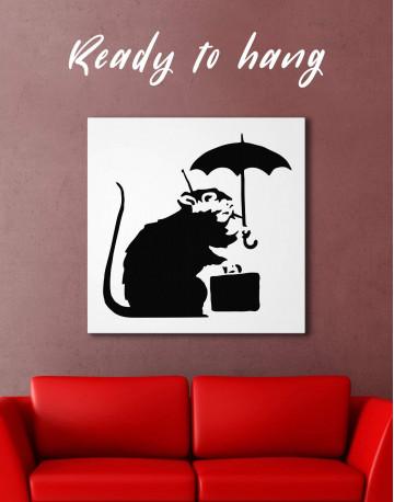 Umbrella Suitcase Rat Canvas Wall Art
