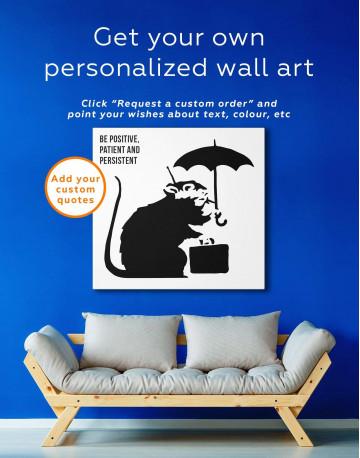 Umbrella Suitcase Rat Canvas Wall Art - image 1