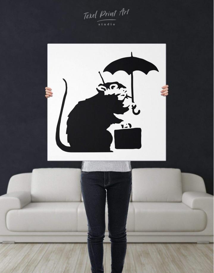 Umbrella Suitcase Rat by Banksy Canvas Wall Art - Image 2
