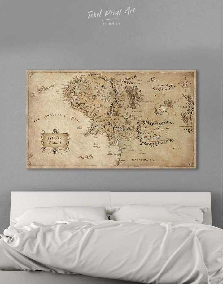 Middle Earth Map Canvas Wall Art