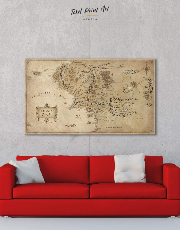 Middle Earth Map Canvas Wall Art - Image 1