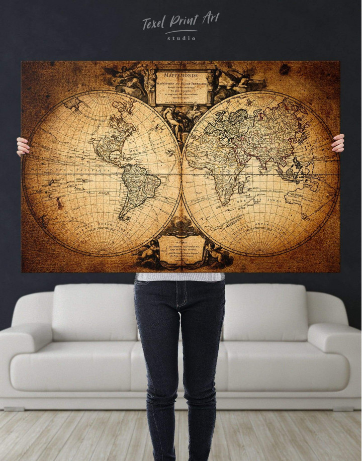 Vintage Old World Map Canvas Wall Art - Image 2