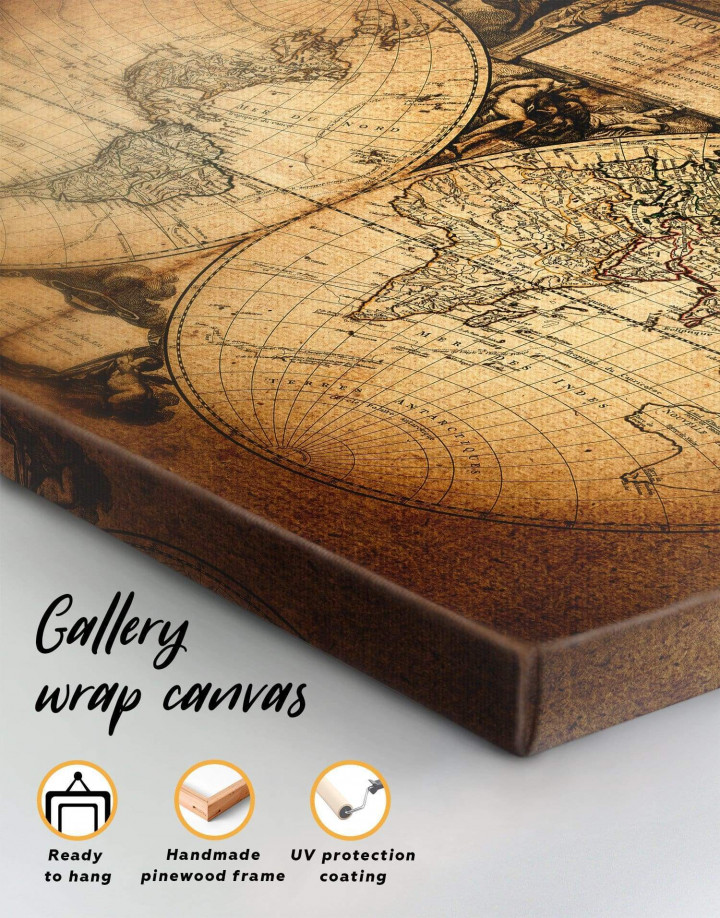 Vintage Old World Map Canvas Wall Art - Image 5
