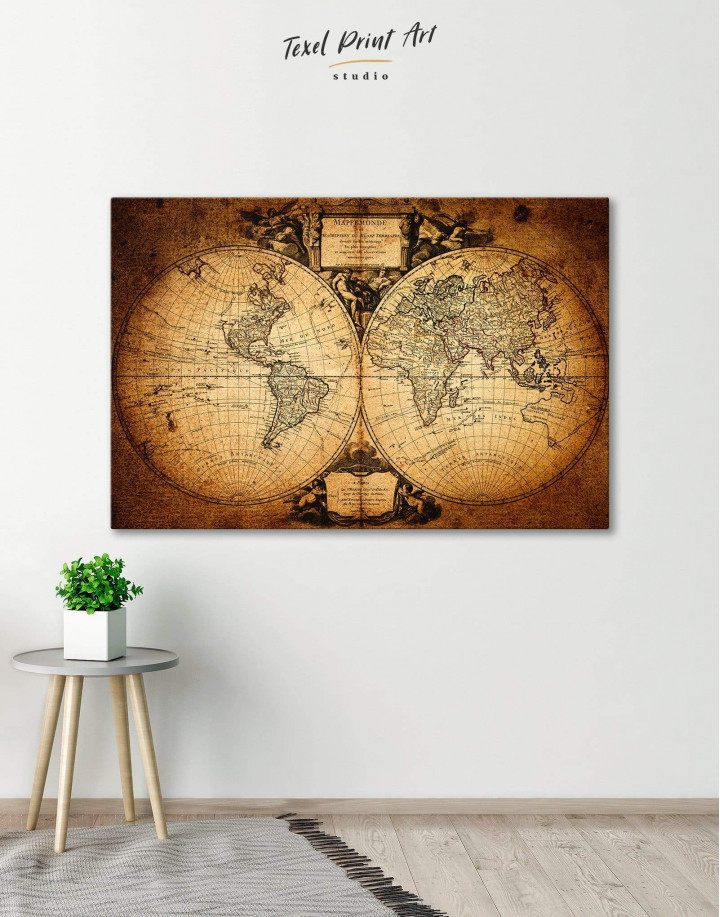Vintage Old World Map Canvas Wall Art - Image 0