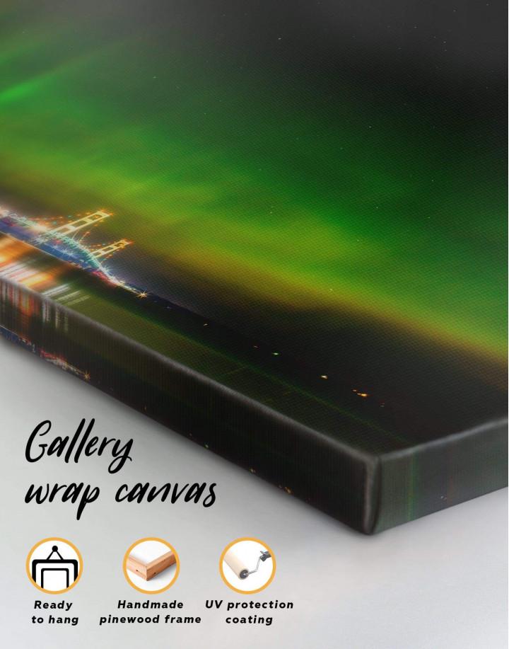 Green Northern Lights Canvas Wall Art - Image 4