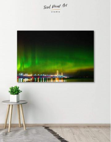 Green Northern Lights Canvas Wall Art