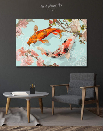 Two Koi Fish Swimming Together Canvas Wall Art