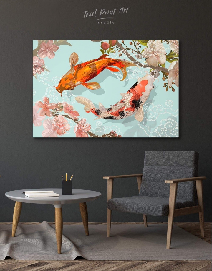 Two Koi Fish Swimming Together Canvas Wall Art - Image 0