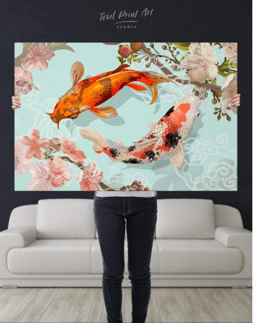 Two Koi Fish Swimming Together Canvas Wall Art - image 5