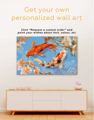 Two Koi Fish Swimming Together Canvas Wall Art - image 1