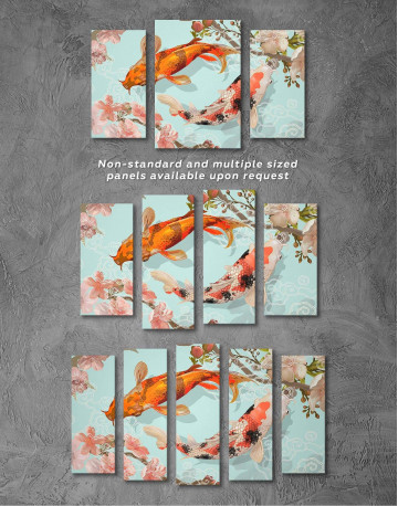 Two Koi Fish Swimming Together Canvas Wall Art - image 2
