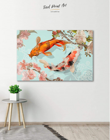 Two Koi Fish Swimming Together Canvas Wall Art - image 6
