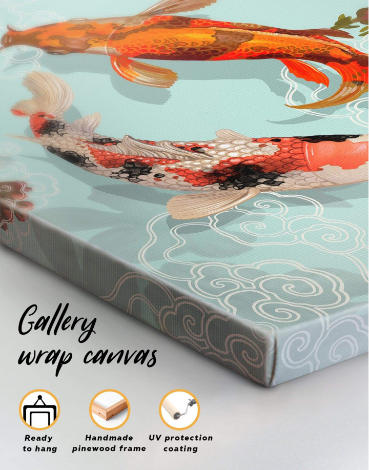 Two Koi Fish Swimming Together Canvas Wall Art - Image 3