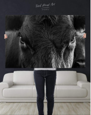 Cow Head Canvas Wall Art - Image 1