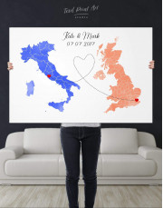 Long Distance Relationships Map Canvas Wall Art - Image 4