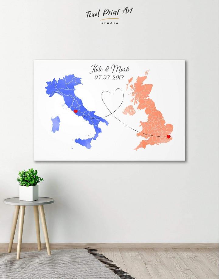 Long Distance Relationships Map Canvas Wall Art