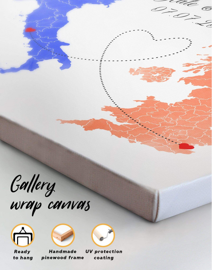 Long Distance Relationships Map Canvas Wall Art - Image 5