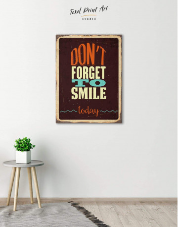 Don't Forget to Smile Today Retro Canvas Wall Art