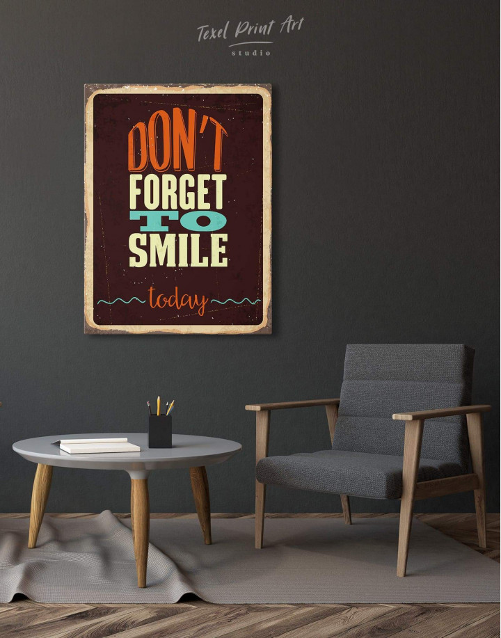 Don't Forget to Smile Today Retro Canvas Wall Art - Image 1