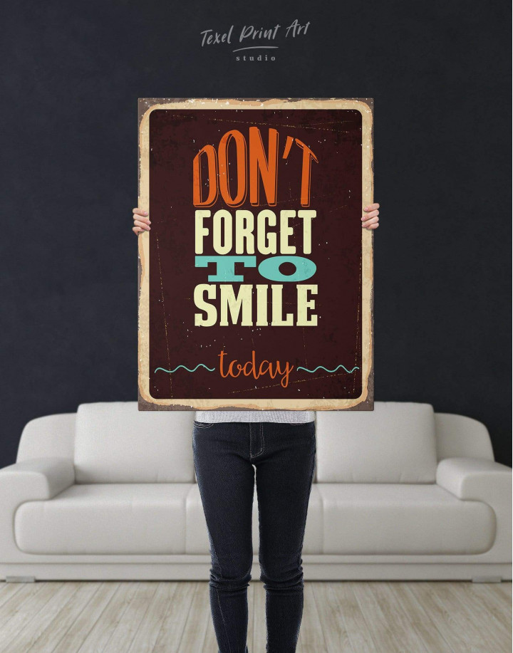Don't Forget to Smile Today Retro Canvas Wall Art - Image 3