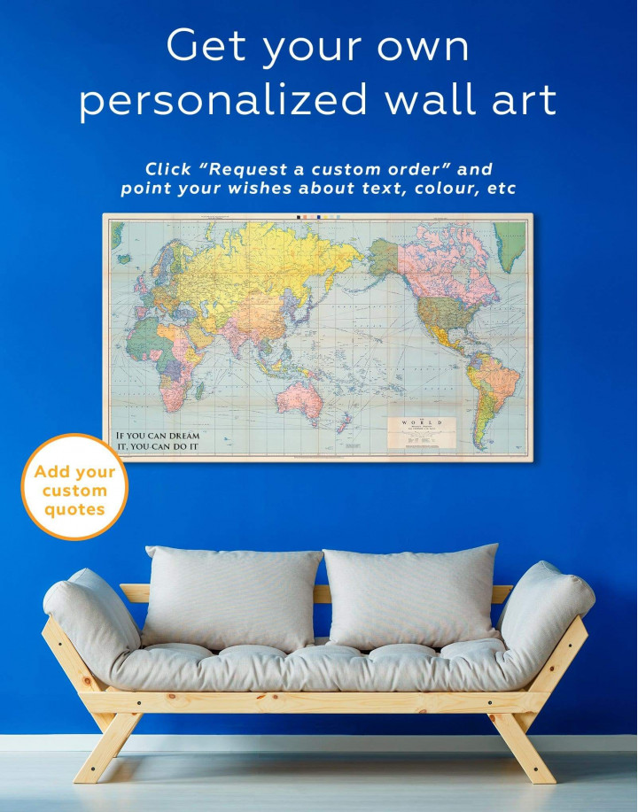 Classic World Map Canvas Wall Art - Image 1
