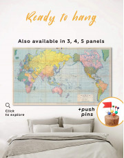 Classic World Map Canvas Wall Art - Image 0