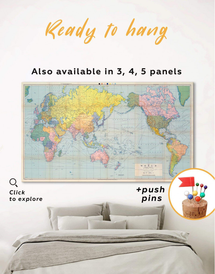 Classic World Map Canvas Wall Art
