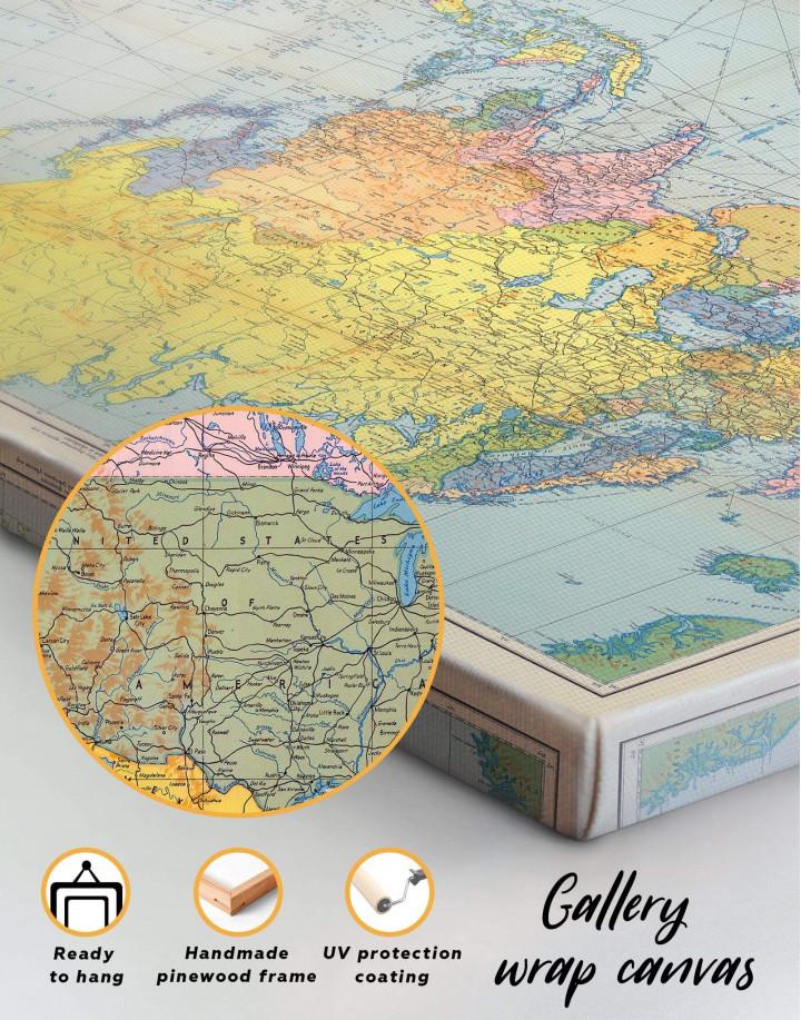 Classic World Map Canvas Wall Art - Image 5