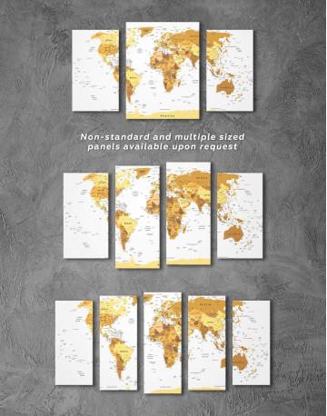 Golden World Map Canvas Wall Art - image 1