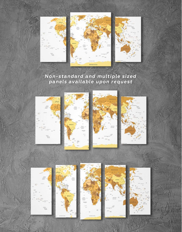 Golden World Map Canvas Wall Art - Image 1
