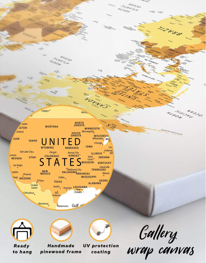 Golden World Map Canvas Wall Art - Image 6