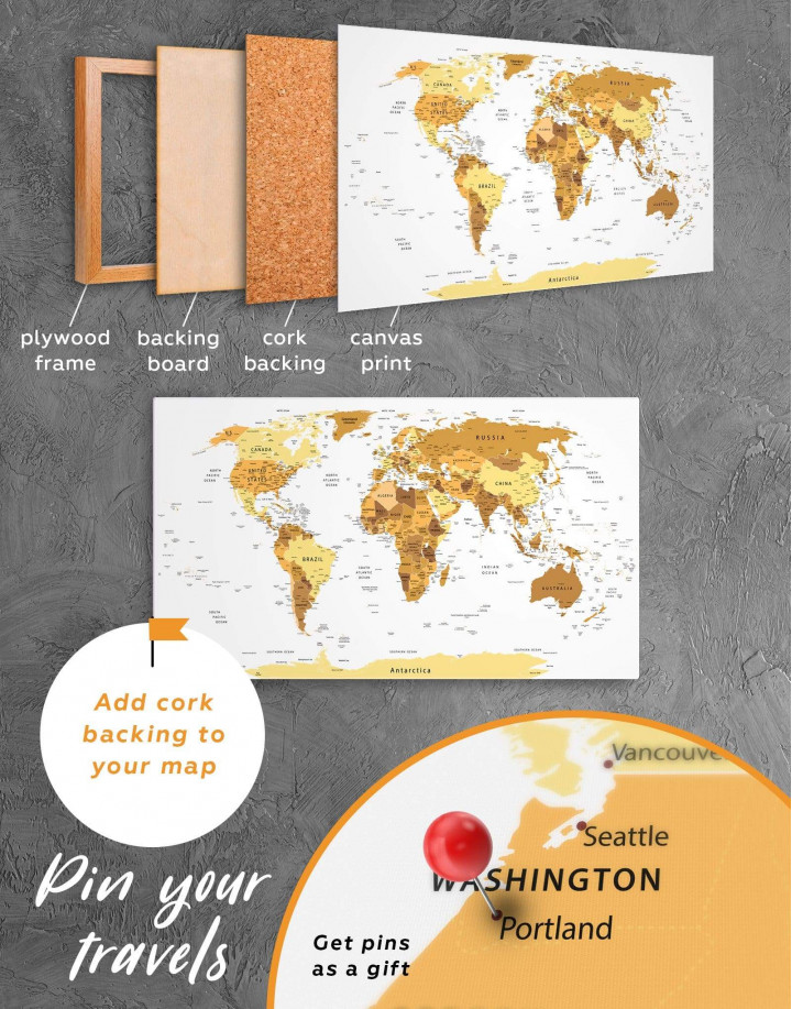 Golden World Map Canvas Wall Art - Image 5