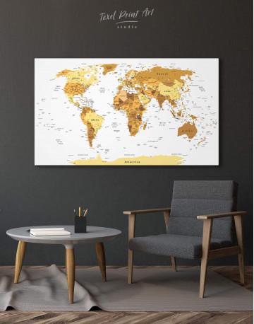 Golden World Map Canvas Wall Art - image 3