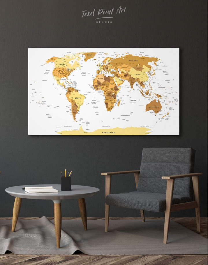 Golden World Map Canvas Wall Art - Image 3