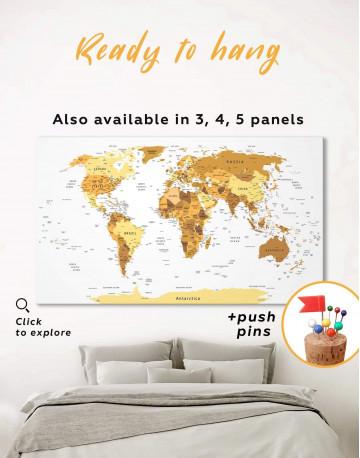 Golden World Map Canvas Wall Art