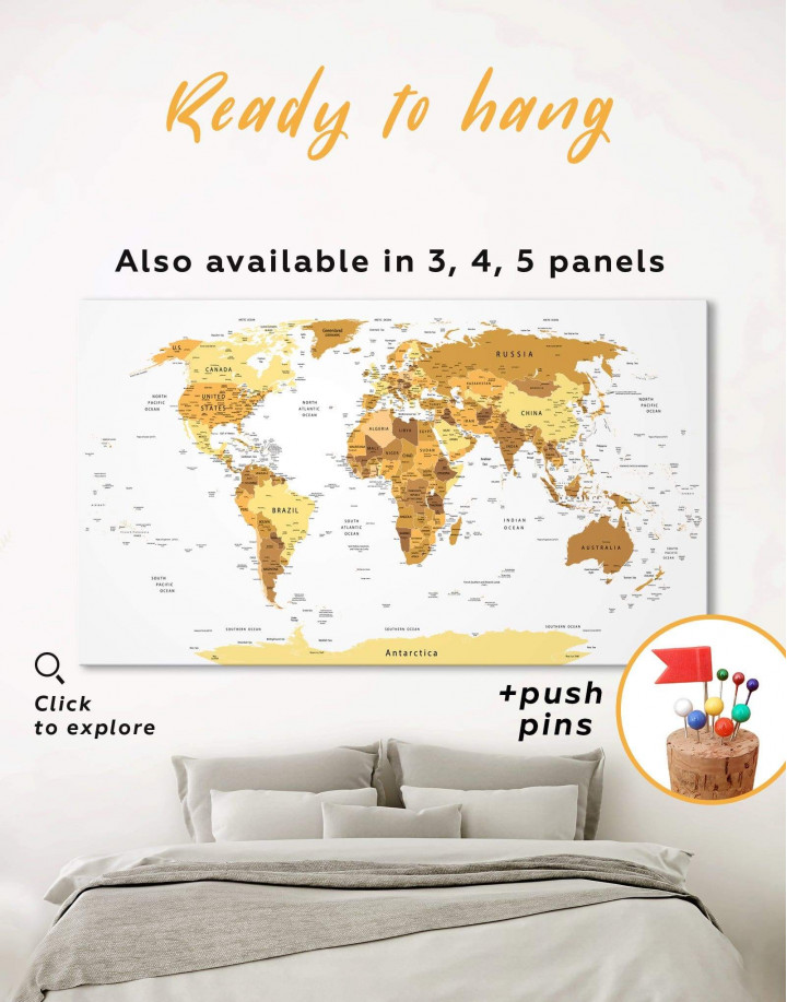 Golden World Map Canvas Wall Art - Image 0