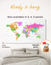 Colorful World Map Canvas Wall Art - Image 0