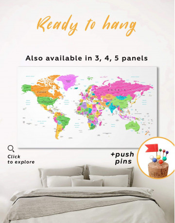 Colorful World Map Canvas Wall Art