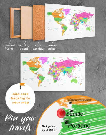 Colorful World Map Canvas Wall Art - image 1