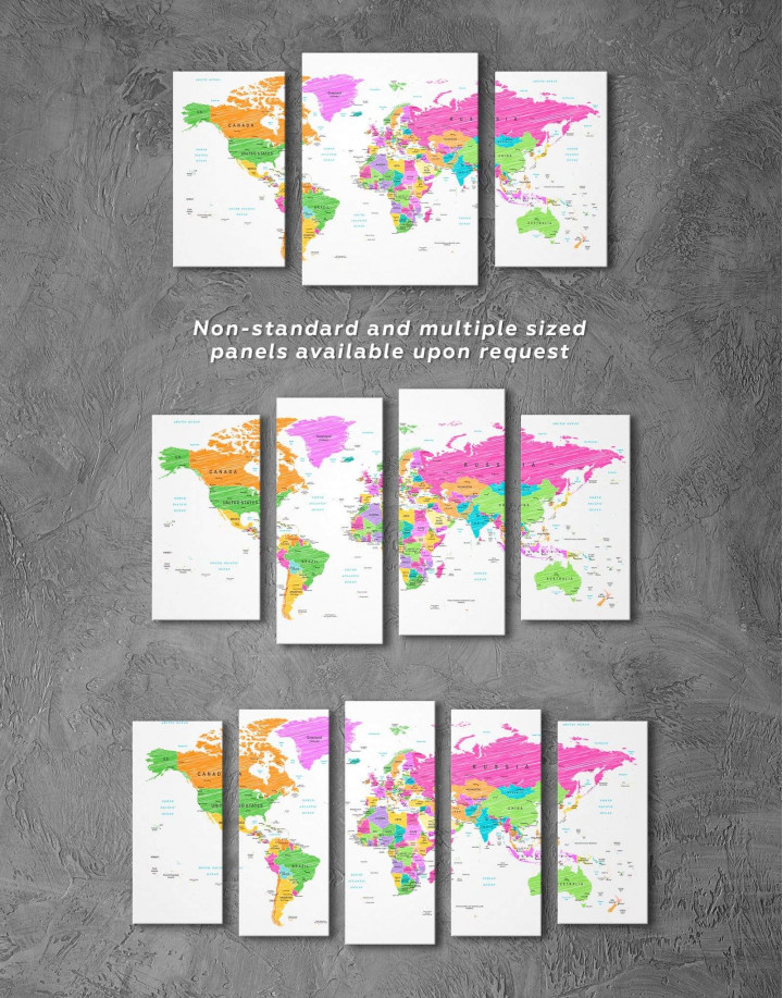 Colorful World Map Canvas Wall Art - Image 5