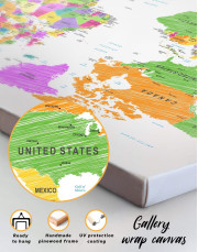 Colorful World Map Canvas Wall Art - Image 2