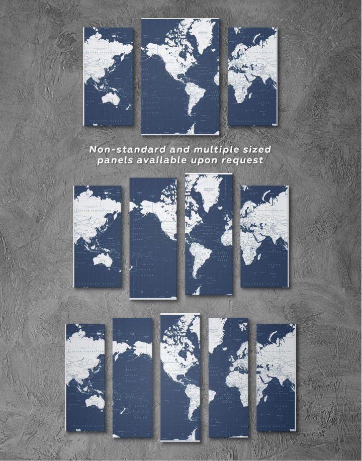 Map On Blue Background Canvas Wall Art - Image 5